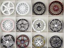 Insieme dei dischi della ruota di automobile Fotografie Stock
