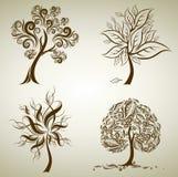 Insieme dei disegni con l'albero dai fogli. Ringraziamento Fotografia Stock Libera da Diritti