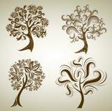 Insieme dei disegni con l'albero dai fogli. Ringraziamento Immagini Stock Libere da Diritti