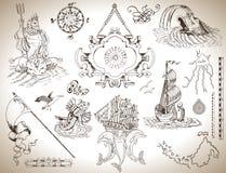 Insieme dei disegni d'annata con l'insegna, vecchi simboli del mare e della nave per le mappe, carte Fotografie Stock Libere da Diritti