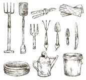 Insieme dei disegni degli strumenti di giardinaggio, illustrazioni di vettore Fotografia Stock Libera da Diritti