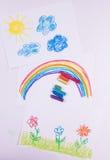 Insieme dei disegni dei bambini pastelli su carta Immagine Stock