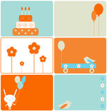 Insieme dei disegni di compleanno Immagini Stock Libere da Diritti
