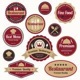 Insieme dei distintivi d'annata e delle etichette del ristorante Fotografie Stock