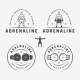 Insieme dei distintivi d'annata e delle etichette di logo di arti marziali e di pugilato illustrazione vettoriale