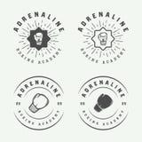 Insieme dei distintivi d'annata e delle etichette di logo di arti marziali e di pugilato illustrazione di stock