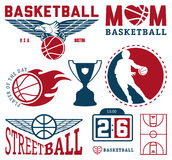 Insieme dei distintivi d'annata e delle etichette di pallacanestro Fotografie Stock Libere da Diritti