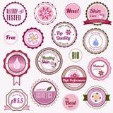 Insieme dei distintivi, dei contrassegni e degli autoadesivi cosmetici Fotografie Stock Libere da Diritti