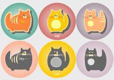 Insieme dei distintivi dei gatti del fumetto Stile piano geometrico moderno semplice Fotografia Stock