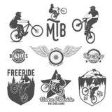 Insieme dei distintivi del mountain bike Fotografie Stock Libere da Diritti
