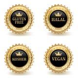 Insieme dei distintivi dell'alimento dell'oro Immagine Stock