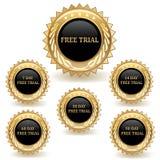 Insieme dei distintivi di prova dell'oro Fotografia Stock Libera da Diritti
