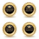 Insieme dei distintivi di qualità dell'oro Fotografie Stock Libere da Diritti
