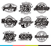Insieme dei distintivi di sport Progettazione grafica per la maglietta Fotografia Stock Libera da Diritti