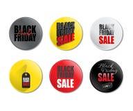 Insieme dei distintivi di vendita di Black Friday Illustrazione di vettore Modello di promozione di vendita di Black Friday Fotografie Stock Libere da Diritti
