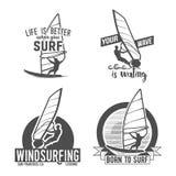 Insieme dei distintivi e del logos di windsurf Immagini Stock Libere da Diritti