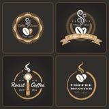 Insieme dei distintivi e delle etichette rotondi della caffetteria Illustrazione di Stock