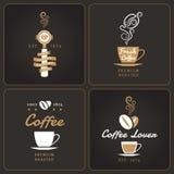 Insieme dei distintivi e delle etichette verticali della caffetteria Illustrazione di Stock