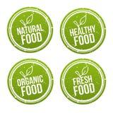 Insieme dei distintivi naturali dell'alimento Alimento sano, organico, fresco Segni disegnati a mano di vettore Può essere usato  royalty illustrazione gratis
