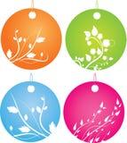 Insieme dei distintivi rotondi con l'ornamento floreale Immagine Stock Libera da Diritti