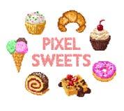 Insieme dei dolci del pixel Immagini Stock Libere da Diritti