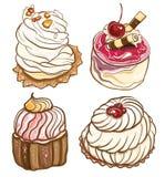 Insieme dei dolci deliziosi con crema e le bacche Fotografia Stock