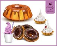 Insieme dei dolci deliziosi e del sapore dei dessert Fotografia Stock Libera da Diritti