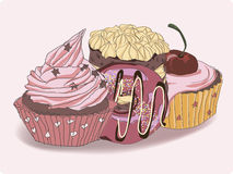 Insieme dei dolci nel vettore Immagine Stock