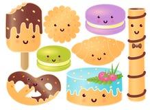 Insieme dei dolci svegli Croissant, ciambellina salata, bigné, gelato, maccheroni, bistecca dolce, biscotto illustrazione vettoriale