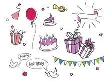 Insieme dei doodles di compleanno illustrazione vettoriale
