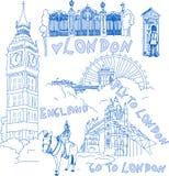 Insieme dei doodles di Londra Fotografia Stock
