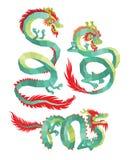 Insieme dei draghi cinesi poligonali Fotografia Stock
