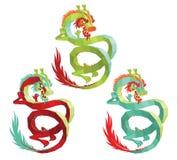 Insieme dei draghi cinesi poligonali di vettore Immagini Stock Libere da Diritti