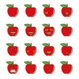 Insieme dei emoticons Insieme di Emoji Icone della mela di sorriso Illustrazione isolata su fondo bianco illustrazione vettoriale