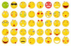 Insieme dei emoticons Insieme di Emoji Illustrazioni piane di stile royalty illustrazione gratis
