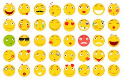 Insieme dei emoticons Insieme di Emoji Illustrazioni piane di stile Archivio di vettore per il vostro web design Priorità bassa b Fotografia Stock Libera da Diritti