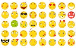 Insieme dei emoticons Insieme di Emoji Illustrazioni piane di stile Archivio di vettore per il vostro web design Priorità bassa b Fotografie Stock Libere da Diritti