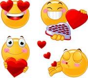 Insieme dei emoticons di smiley dei biglietti di S. Valentino Fotografia Stock Libera da Diritti