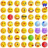 Insieme dei emoticons Insieme di Emoji Icone di sorriso Fotografia Stock