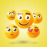Insieme dei emoticons Insieme di Emoji Icone di sorriso Illustrazione isolata su fondo bianco Fotografie Stock Libere da Diritti