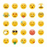 Insieme dei emoticons Progettazione piana di Emoji, progettazione dell'avatar Illus di vettore Fotografie Stock Libere da Diritti