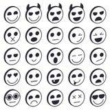 Insieme dei emoticons Raccolta delle icone di Emoji Fronti divertenti di sorriso Immagine Stock Libera da Diritti