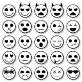 Insieme dei emoticons Raccolta delle icone di Emoji Fronti divertenti di sorriso Fotografia Stock