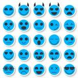 Insieme dei emoticons Raccolta delle icone di Emoji Fronti divertenti di sorriso Fotografie Stock Libere da Diritti