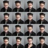 Insieme dei expresions dell'uomo bello con i vetri e la barba dell'occhio Fotografie Stock Libere da Diritti