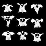 Insieme dei fantasmi bianchi di Halloween con differente Immagini Stock