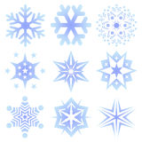 Insieme dei fiocchi di neve Fotografia Stock