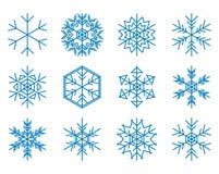 Insieme dei fiocchi di neve blu Illustrazione di Stock
