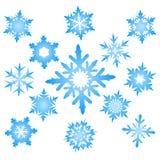 Insieme dei fiocchi di neve blu Fotografie Stock Libere da Diritti