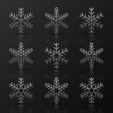 Insieme dei fiocchi di neve d'argento Fotografie Stock Libere da Diritti